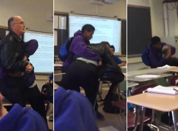 Öğretmenini Yere Fırlattı